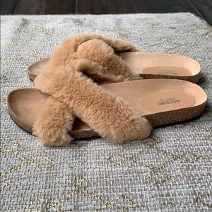 Mossimo Supply Co. Shoes - Mossimo faux fur cork sandals NWOT